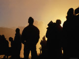 Poon Hill Spectators Silhouetted at Sunrise in the Kali Gandaki River Valley  Annapurna Region