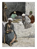 Arab Bakers at their Bread Oven in Cairo  Egypt  1880s