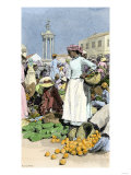 Native Woman Shopping in a Farmer&#39;s Market  Jamaica  c1890