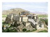 Acropolis of Ancient Athens  Crowned by the Parthenon and a Statue of Athena