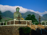 Statue of Buddha Sitting Amongst Mountains and Clouds at the Jodo Mission