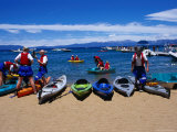Kayakers Getting Ready to Paddle out into Lake Tahoe