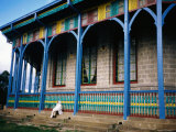 Priest Outside Octagonal Entoto Maryam Church Near Addis Ababa