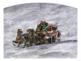 Stagecoach Caught in a Prairie Blizzard  1800s