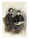 President Lincoln Reading to His Son  Tad