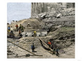 Archaeologists Excavating Ancient Ruins on the Acropolis  Athens  1890s