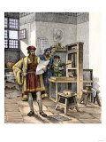 Gutenberg and Fust with the First Printing Press  Germany  1450s