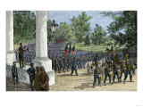 Union Troops Reviewed by President Lincoln as They March Past the White House During the Civil War