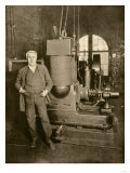Thomas Edison with the Dynamo That Generated the First Commercial Electric Light  New York City