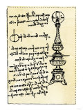 Leonardo Da Vinci's Backward Handwriting on His Design for a Lamp Using a Globe Filled with Water