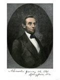 Abraham Lincoln in Springfield  Illinois in 1861  with His Autograph