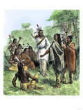 Chief Opecancanough Arousing Native Americans Against Virginia Colonists  1622
