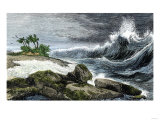 Tsunami Breaking on the Shore of Hawaii  1800s