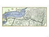 Map of the Erie Canal across New York State  1800s