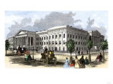 Busy Street in Front of the Patent Office  Washington DC  1850s