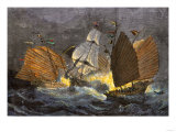 Chinese Pirates Attacking a European Merchant Ship  1800s