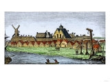 Fort  Wall  Windmill  Church  Gallows  and Pillory of New Amsterdam  1659