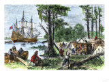 First Settlers Building Jamestown  Virginia Colony  1607