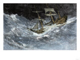 Sailing Ship Struggling Through Stormy Seas