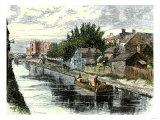 Erie Canal Barge Towed Through Schenectady  New York  1800s