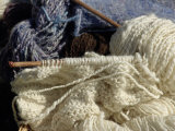 Knitting Needles and Handspun Wool Yarn at a Yorktown Reenactment  Virginia