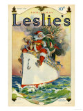 Leslie&#39;s  Father Christmas Santa Claus Ships Cruises Magazine  USA  1914