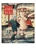 John Bull  Mothers and Sons Shopping in Wet Weather Magazine  UK  1954