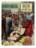 John Bull  Flowers Stalls Snowing Shopping Markets Winter Cold Weather Magazine  UK  1954