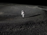 Spacesuit Engineer Simulates Work Inside a Crater in Johnson Space Center's Lunar Yard