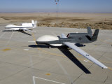 Two Global Hawks Parked on a Ramp