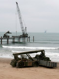 Navy Seabees Dismantling an Elevated Causeway Modular