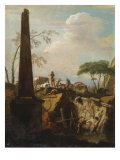 Italianate Landscape with an Obelisk and Archaeologists by Classical Ruins
