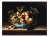 Peaches and Grapes in a Blue and White Chinese Porcelain Bowl Fruit Still Life  1634