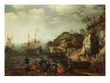 Coastal Scene with Fishermen and Huntsmen on the Shore  1626