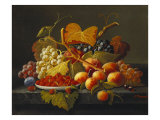 Still Life with Dish of Strawberries  Peaches and Grapes