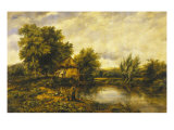 River Landscape with an Angler by a Mill  19th Century