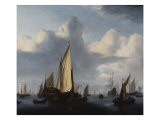 Seascape with a States Yacht and Other Shipping in a Calm  1654