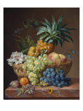 Still Life with a Pineapple  Grapes  Peaches  a Plum  a Tangerine and Assorted Flowers