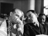 Sen Joseph R McCarthy Talking with His Lawyer Roy M Cohn in the Army-McCarthy Hearings