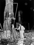 Richard Stolley Helping Actress Zsa Zsa Gabor Through Remains of Her Home  Destroyed by Bush Fire