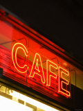Illuminated Neon Light Cafe Sign in New York City