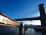Metal Sign for the Brooklyn Bridge in New York