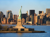 Skyline View of Manhattan  New York with the Statue of Liberty Landmark