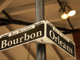 Historic Bourbon and Orleans Street Signs in New Orleans  Louisiana