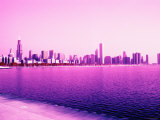 Grandiose Skyline as Seen across the Rippled River Surface in Chicago  Illinois