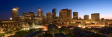 Skyline with Illuminated Lights at Night in Boston  Massachusetts
