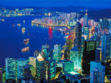 Aerial View of City Skyline in Hong Kong  China at Night