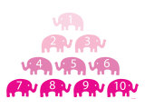 Pink Counting Elephants Reproduction d'art par Avalisa