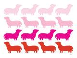 Pink Daschund Family