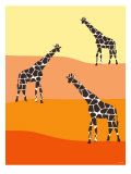 Orange Giraffe Family